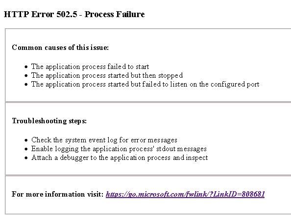 IIS 7 部署 Dotnet Core 2.1 应用时发生 HTTP Error 502.5 - Process Failure